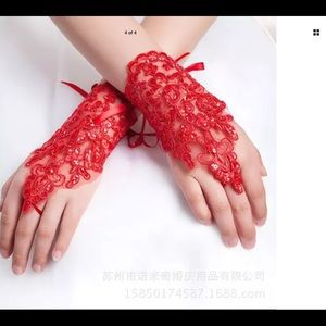 New beautiful red lace fingerless gloves formal
